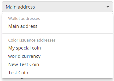 Select colored coin address