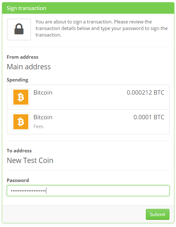 Send coins from main address to colored coin address