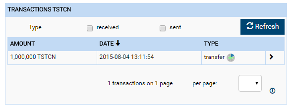 Transaction of colored coins visible in client interface