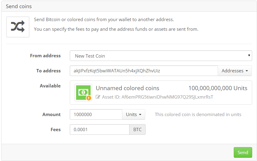 Send colored coins to exchange account