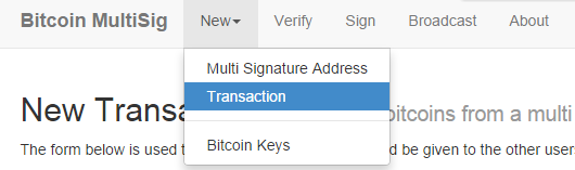 Create new multi signature transaction