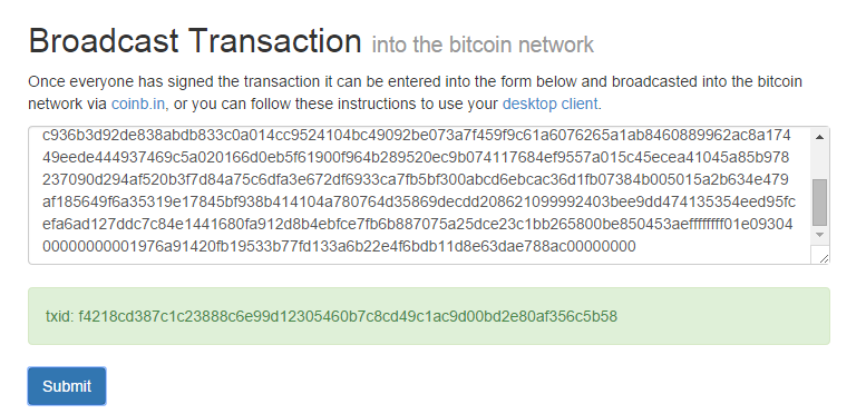 Accepted, broadcasted multi signature transaction
