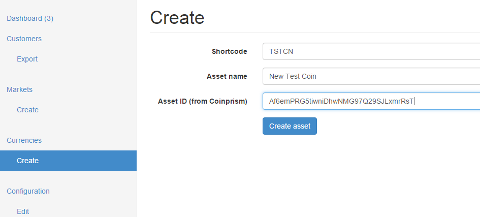 Create new colored coin asset in cxAdmin
