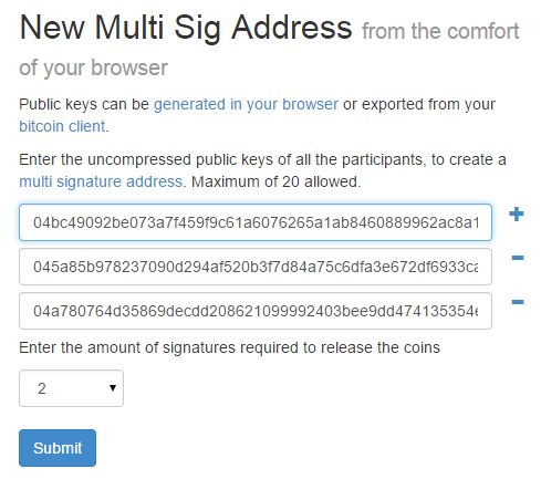 create new multi sign address