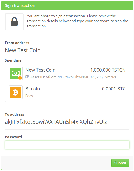 Sign transaction to send colored coins to exchange