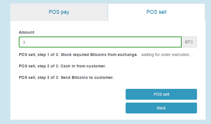 POS sell, buying Bitcoin for customer